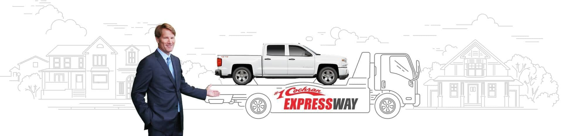 Cochran expressway banner with a car on a truck