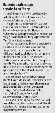 Hanania donates to military article clipping
