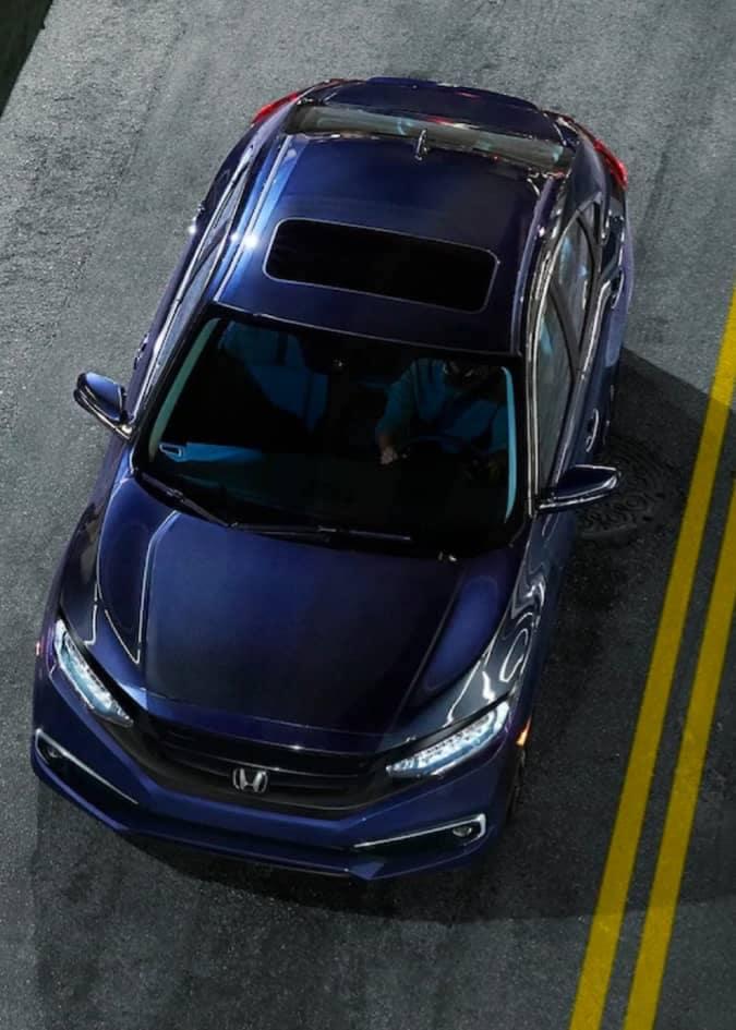 aerial view of honda sedan