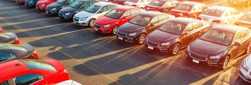 aerial view of used car lot