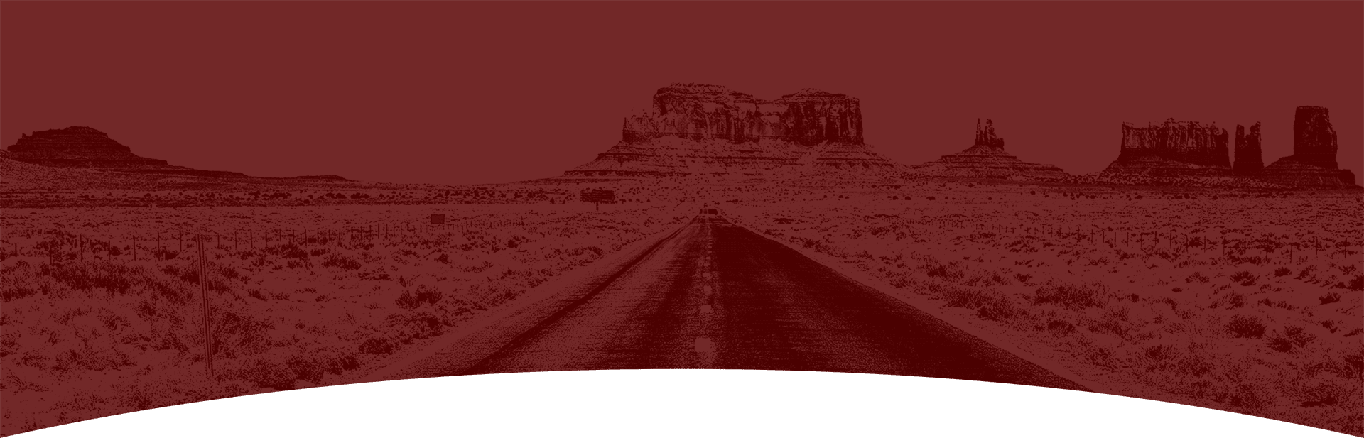 Maroon overlay over an empty road in the middle of the desert
