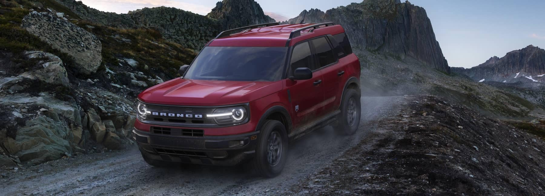 A 2021 Ford Bronco Sport being driven off road down a hill