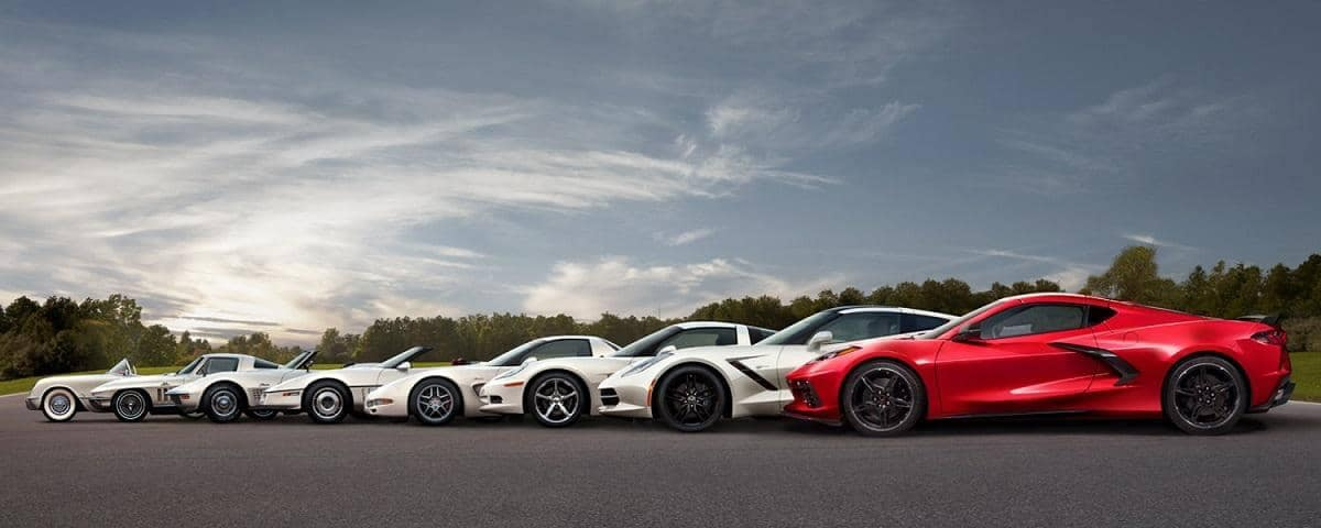 Generations of Chevy Corvette Vehicles lined up