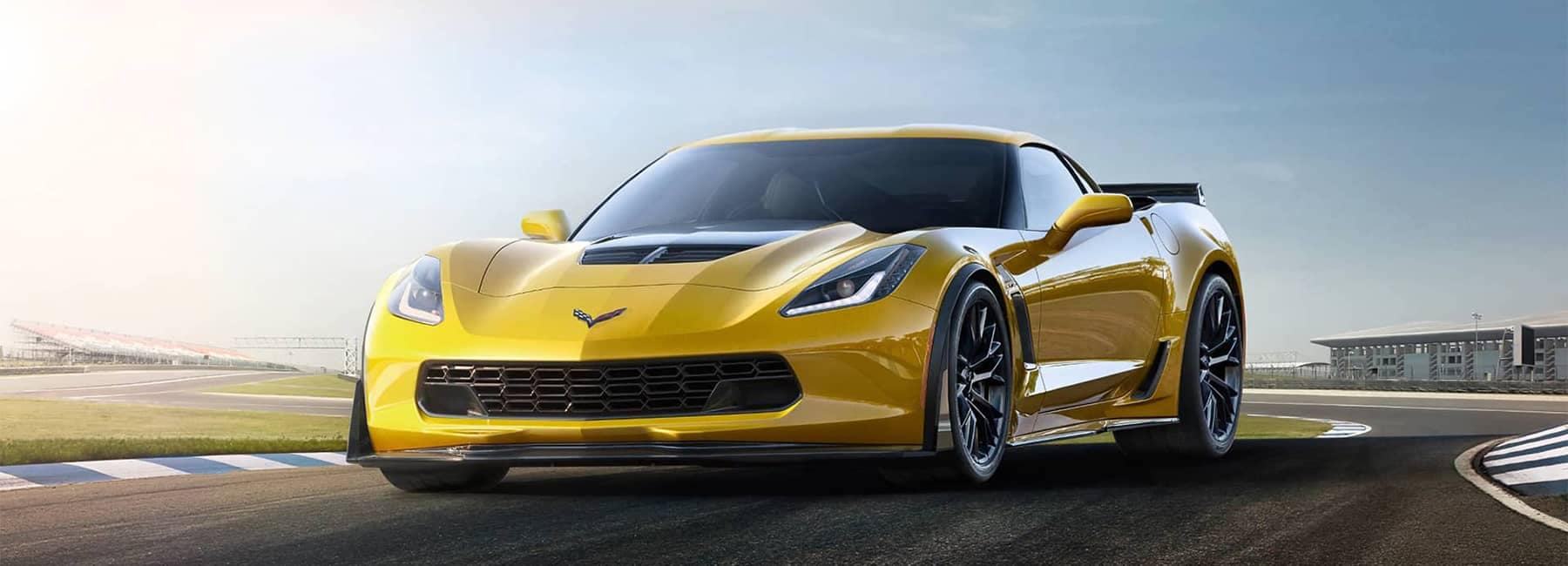 Yellow 2019 Corvette Z06 Exterior Angled View on Track