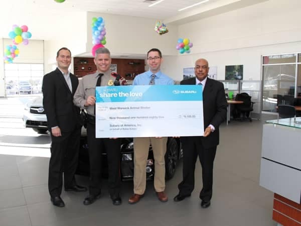 Community Image - Balise Subaru Presents Check to West Warwick Animal Shelter
