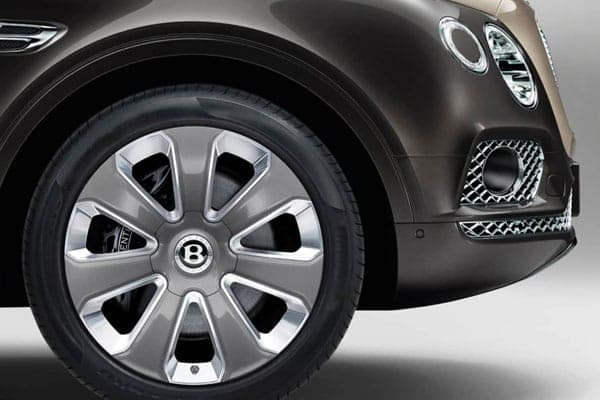 Close up of a wheel on a Bentley vehicle