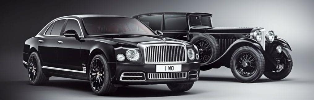 Image showing the 1930's car with the new Mulsanne W.O. Edition in front of it