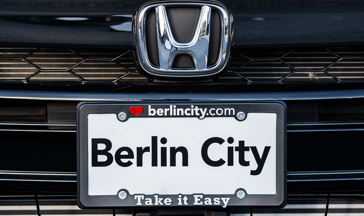 close up on Berlin City Auto license plate