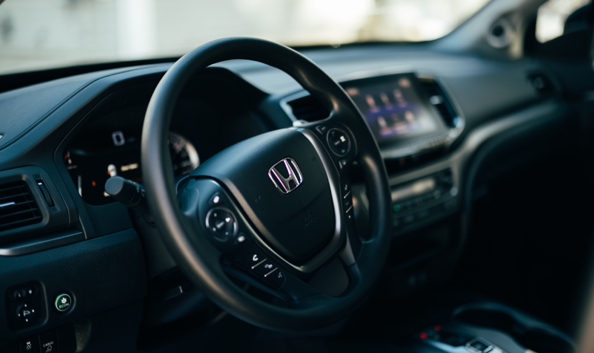 closeup on Ridgeline steering wheel
