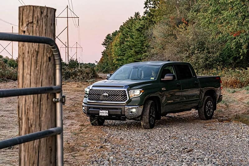 green truck parked on gravel wooded road