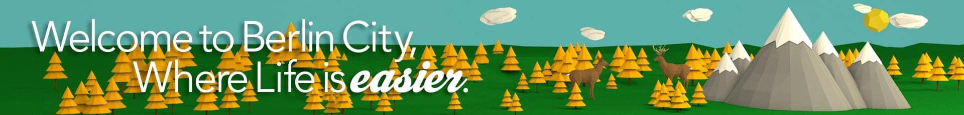 Life is easier banner. A bunch of yellow trees