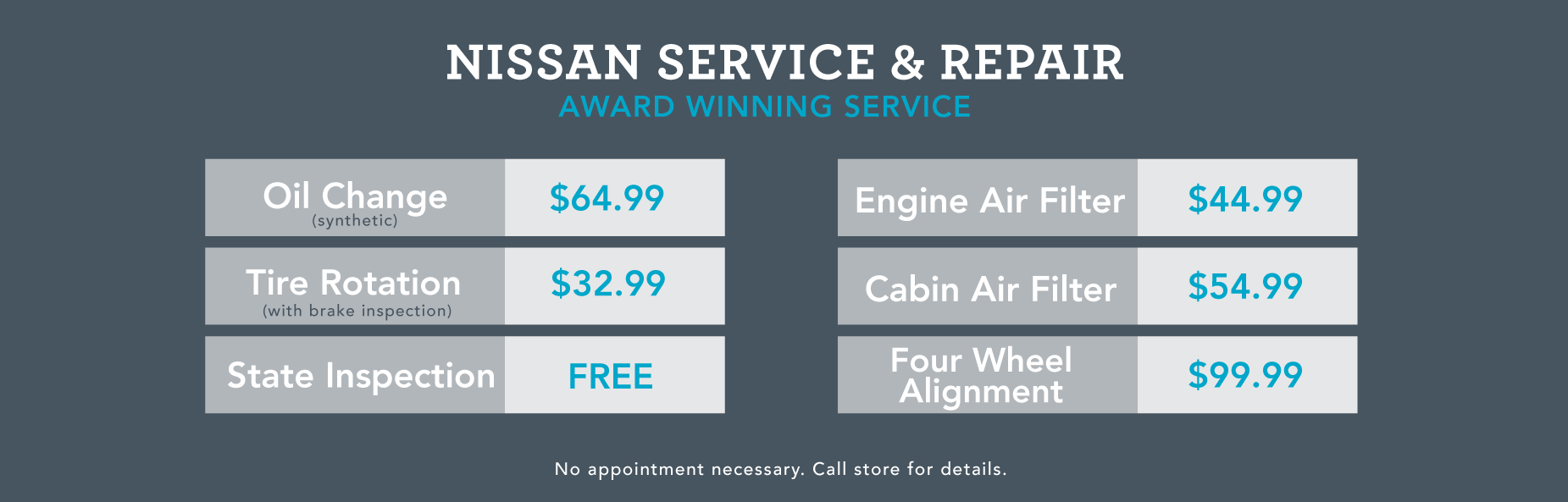 Nissan Service fees banner