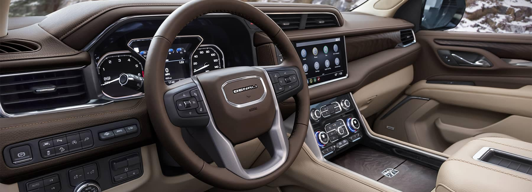 2021 GMC Denali Interior in brown and tan leather