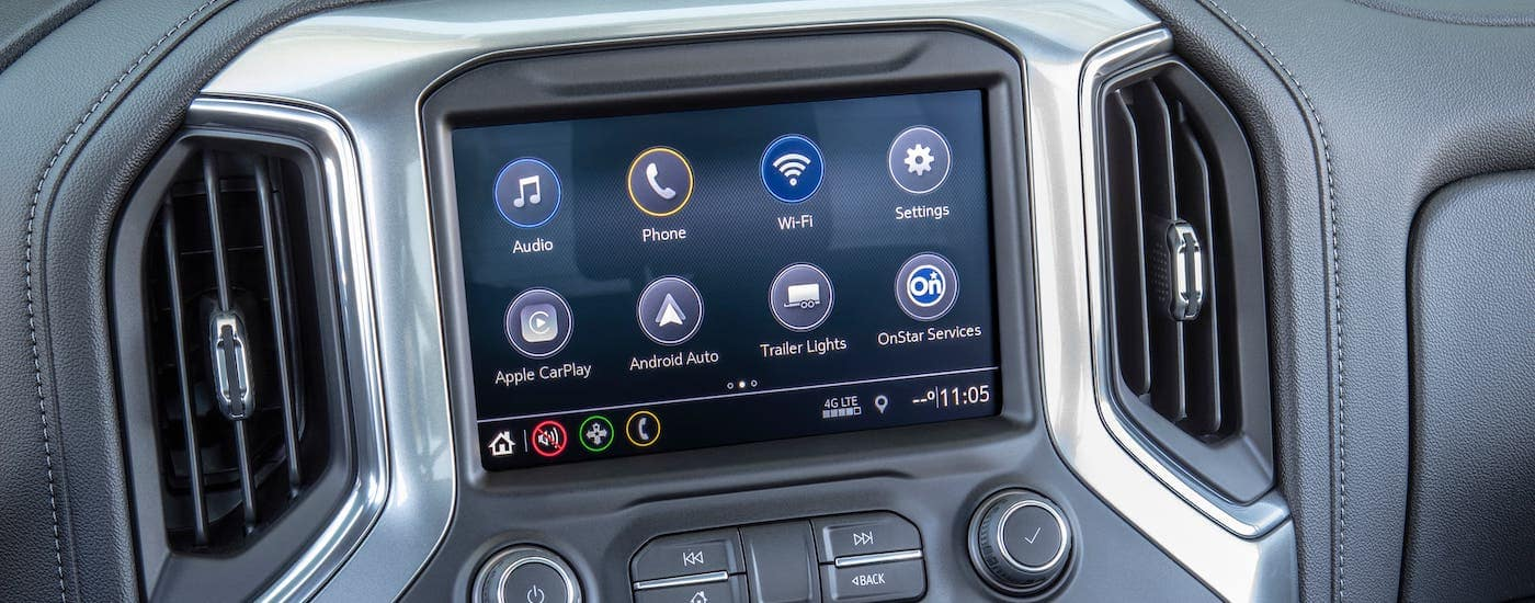A closeup is shown of the large touchscreen in a 2019 Chevy Silverado in Indianapolis, IN.