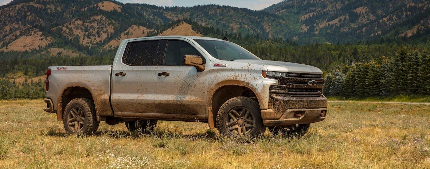 A silver Silverado Trailboss, a popular 2019 Chevy Silverado for sale, is covered in mud in a field.