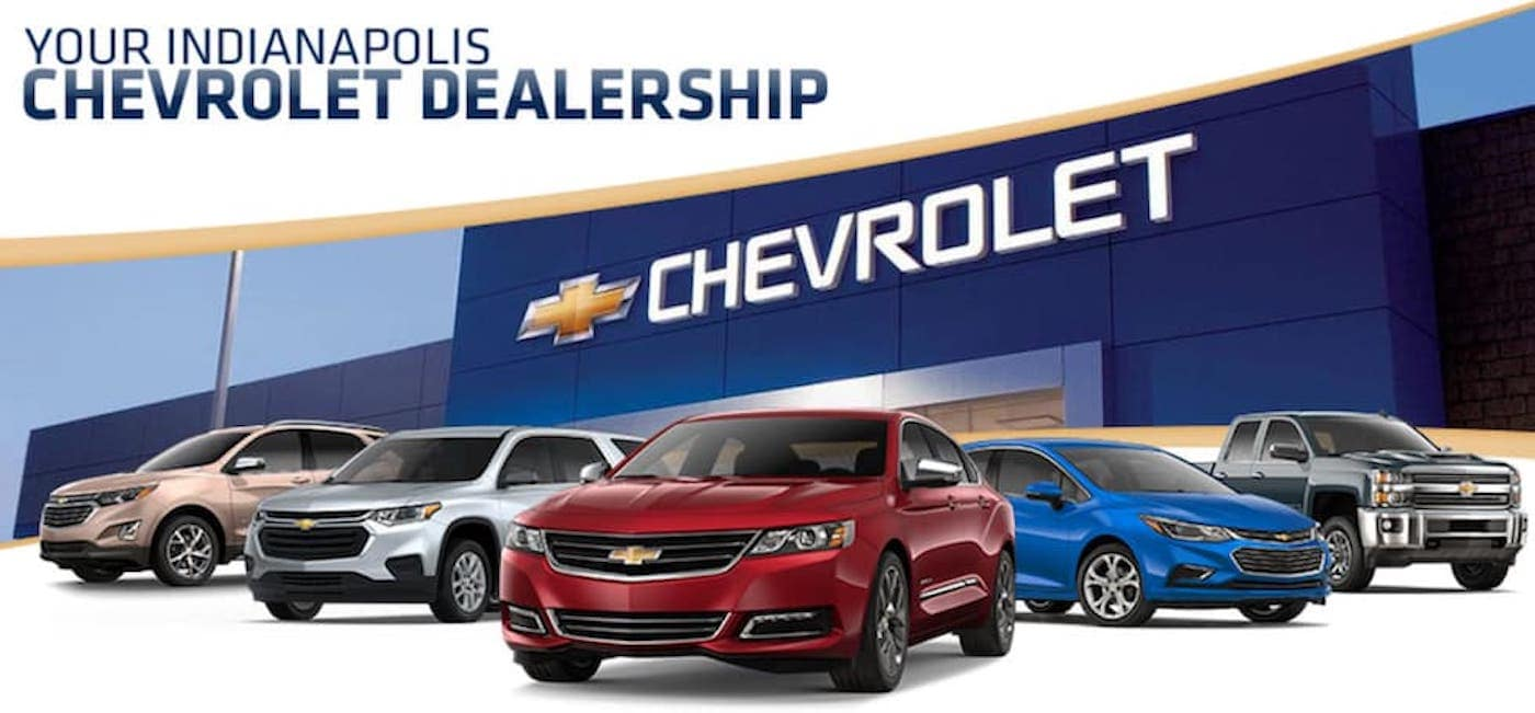 Five Chevy models are shown in front of a Chevrolet dealership in Indianapolis, with 'Your Indianapolis Chevrolet Dealership' written above.