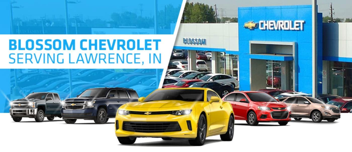 Five Chevy models are in front of Blossom Chevrolet, which is a great option for a Lawrence Chevrolet dealer.