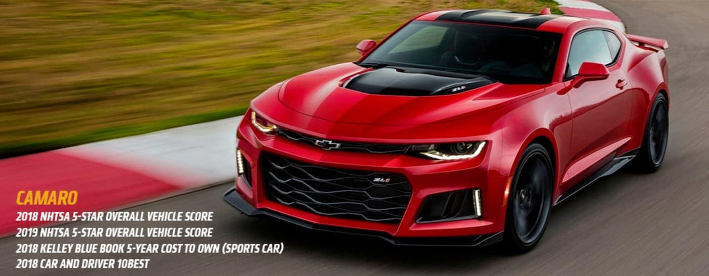 A red 2018 Chevy Camaro is driving around a race track with the awards listed below.