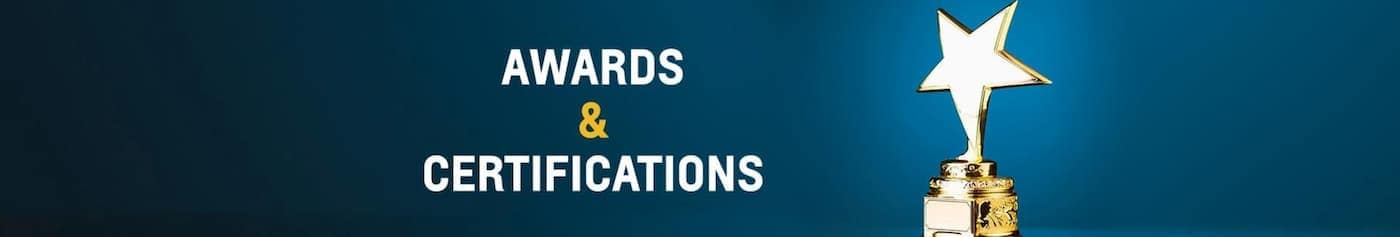 A trophy is next to the words 'Awards & Certifications'.