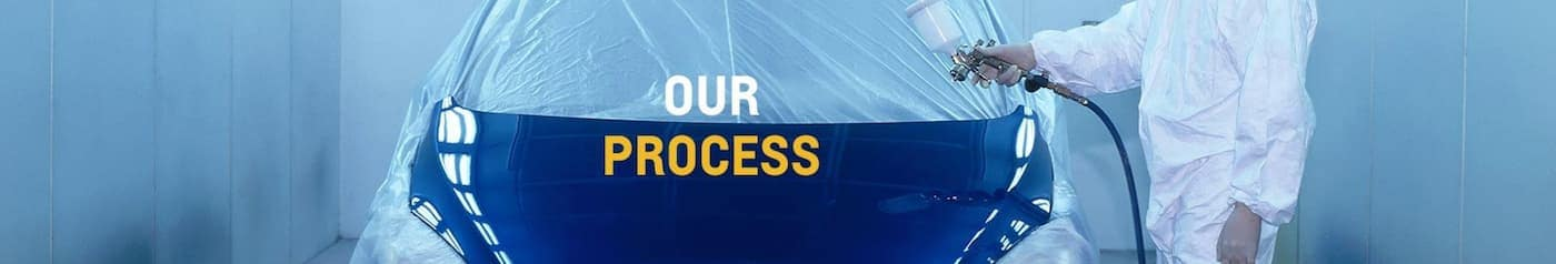 A blue car is being sprayed with the words 'Our Process' in front.