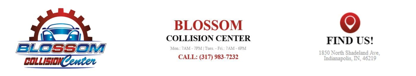 The Blossom Chevrolet Collision Center in Indianapolis' logo and information is displayed.