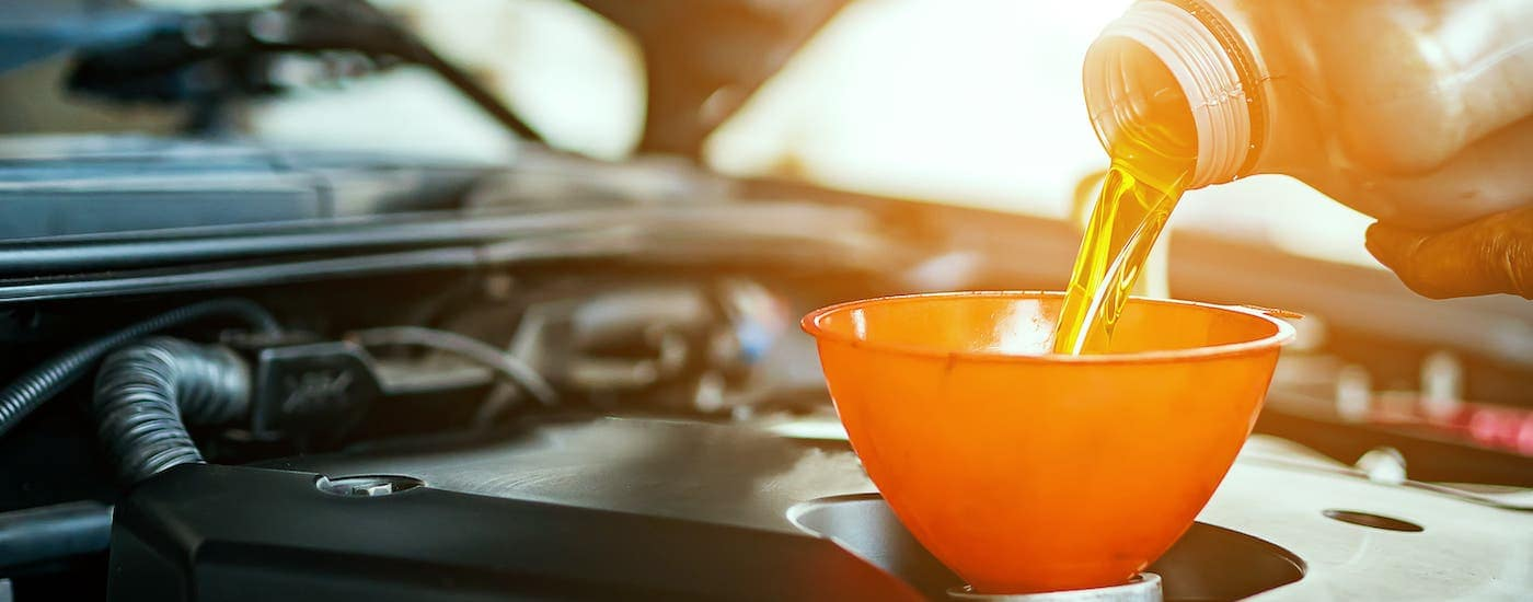 A closeup shows oil being poured into an orange funnel as part of an oil change in Indianapolis, IN.