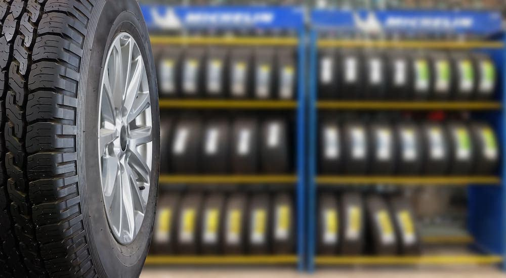 A rack of tires is shown.