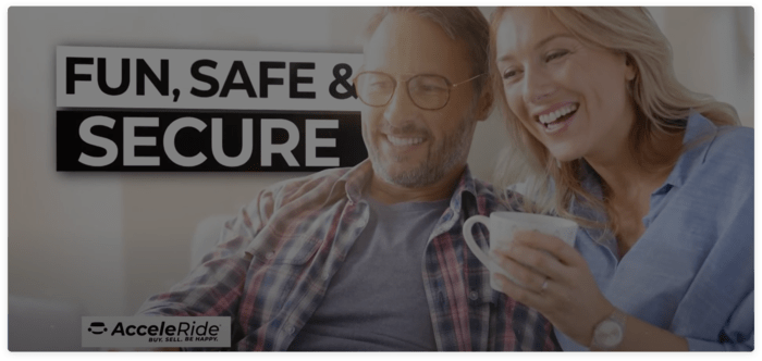 Fun, Safe, & Secure Couple smiling and holding coffee cup