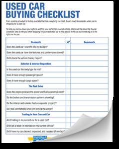 used car Buying checklist