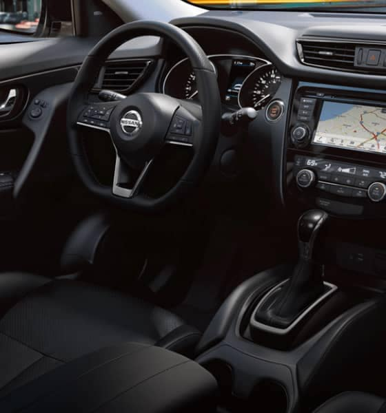 Interior view of a Nissan vehicle with Navigation