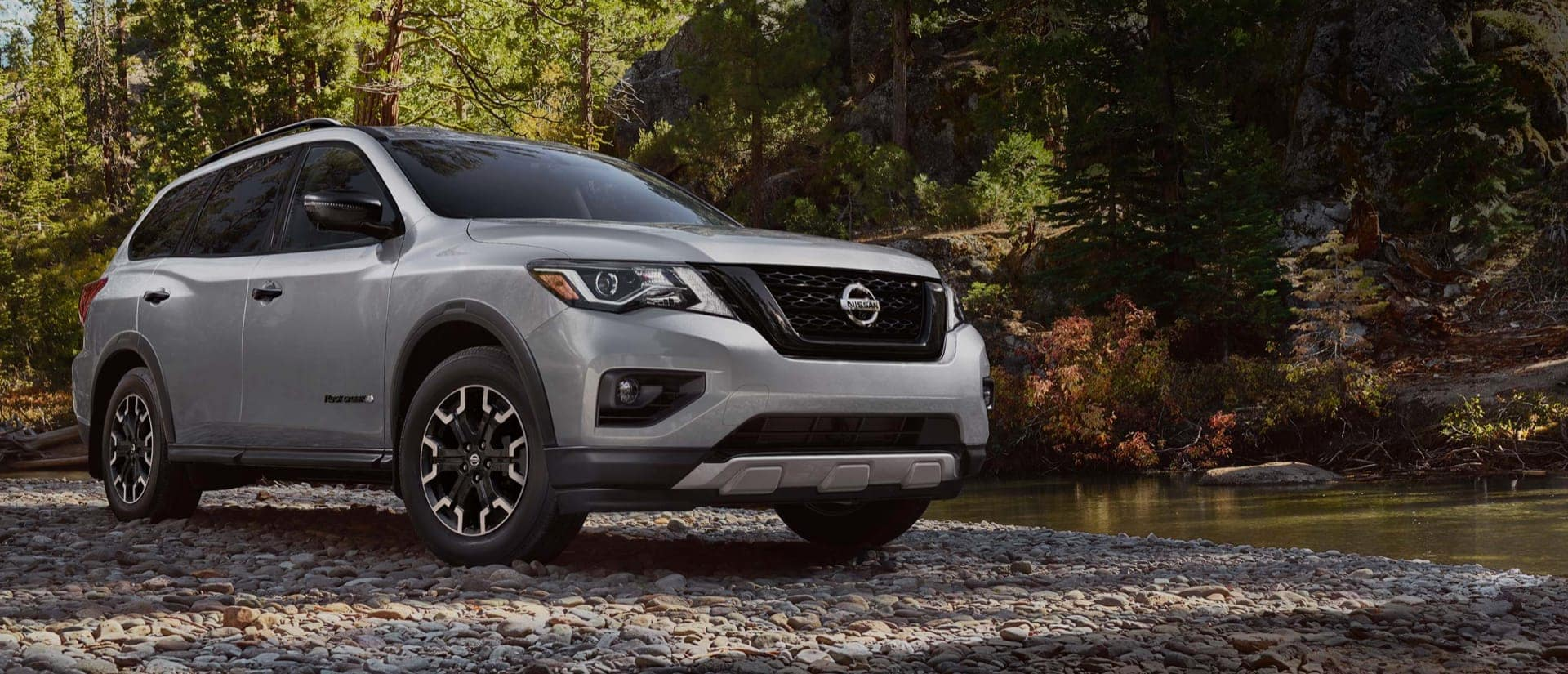 New Grey Nissan Rogue in Woods