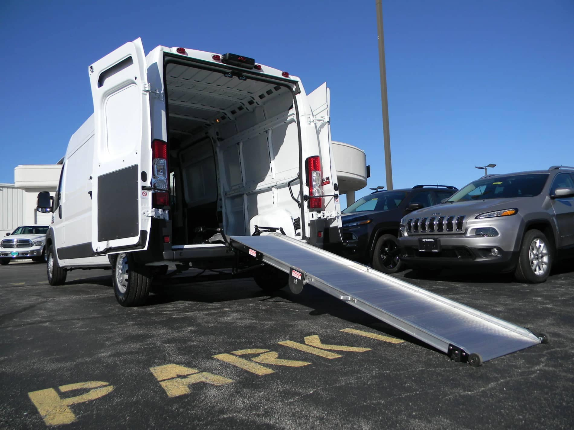 Van with upfit and ramp