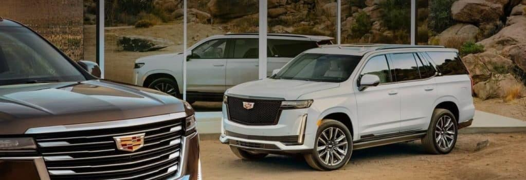 New Cadillac SUVs outside in the desert in front of mirror