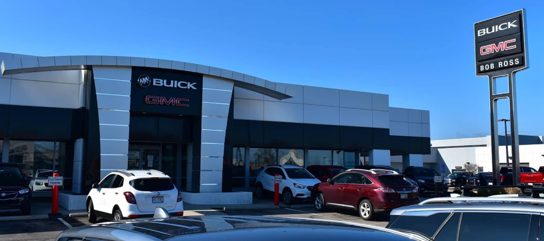 An exterior shot of the Bob Ross Buick GMC dealership