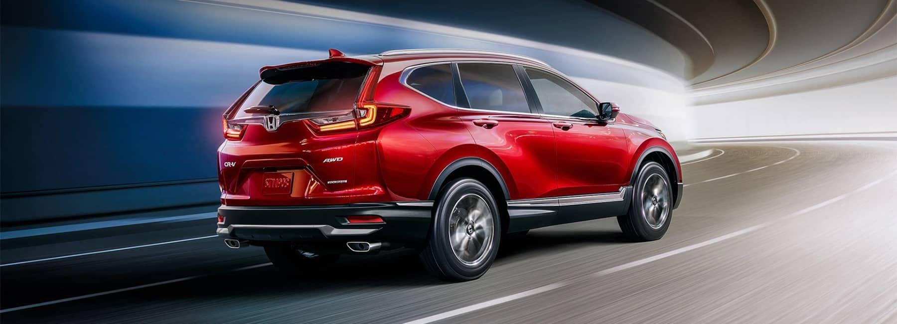 2020 Red Honda CR-V Back Angled View Driving