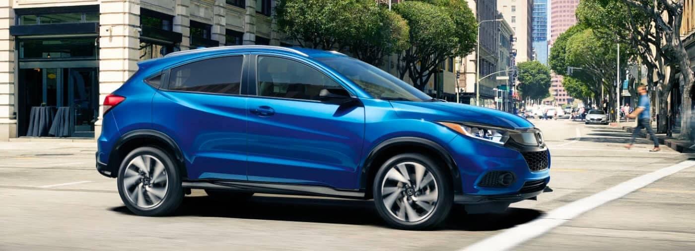 Blue 2021 Honda HR-V in city