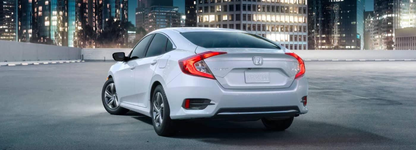 White 2020 Honda Civic Rear View