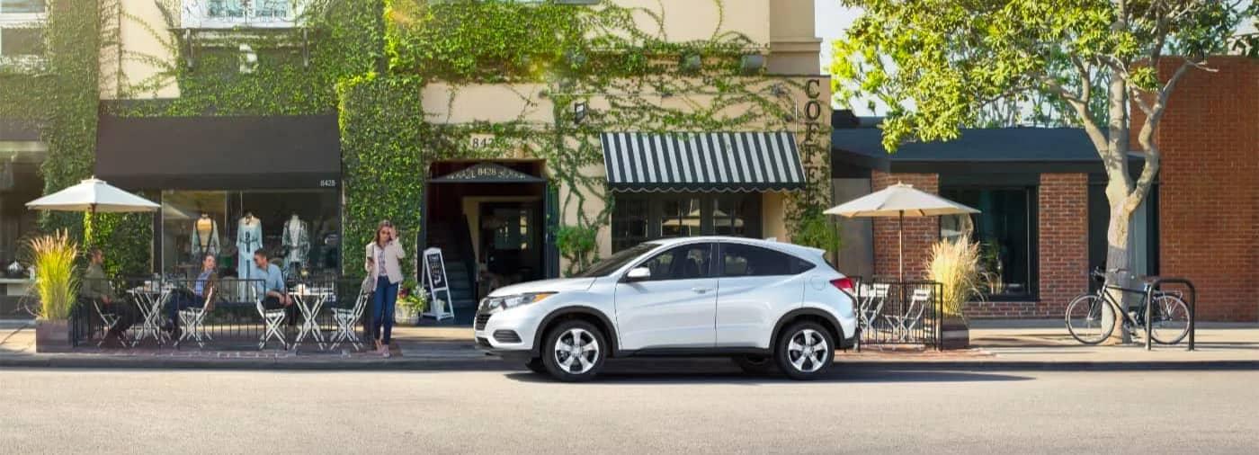 White 2020 Honda HR-V Parked in front of store