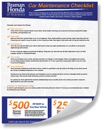 Car Maintenance Checklist >> Car Maintenance Checklist Greenacres Fl Braman Honda Of Palm