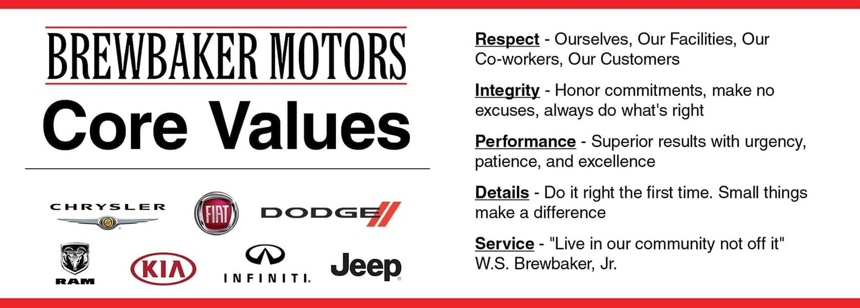 Brewbaker Motors Core Values