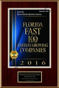 Florida Fastest 100 Growing Companies award