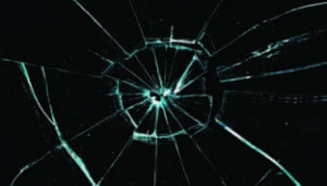 close up of cracked glass