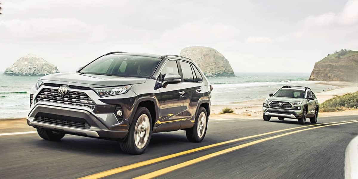 Two 2019 Toyota RAV4s on road next to Ocean