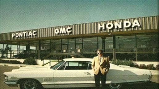 Brown Pontiac GMC Honda historical dealership photo