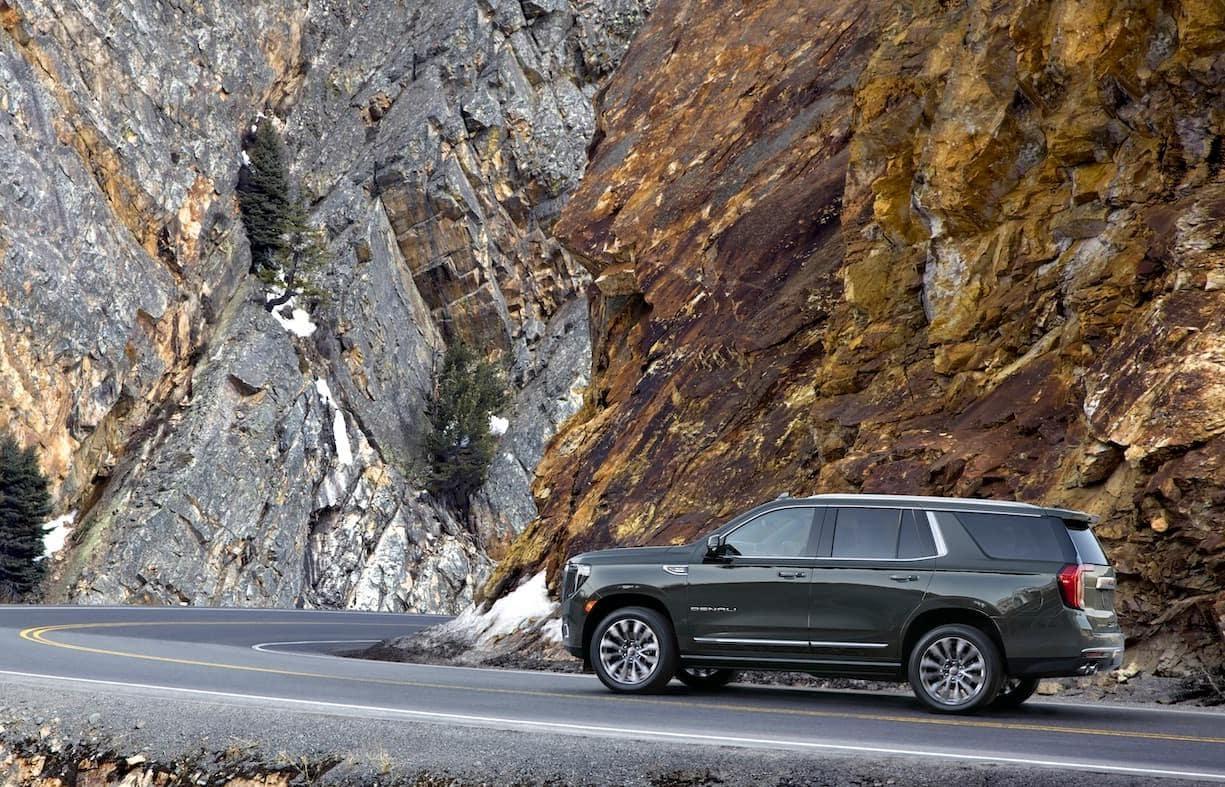 GMC Yukon against canyon rock