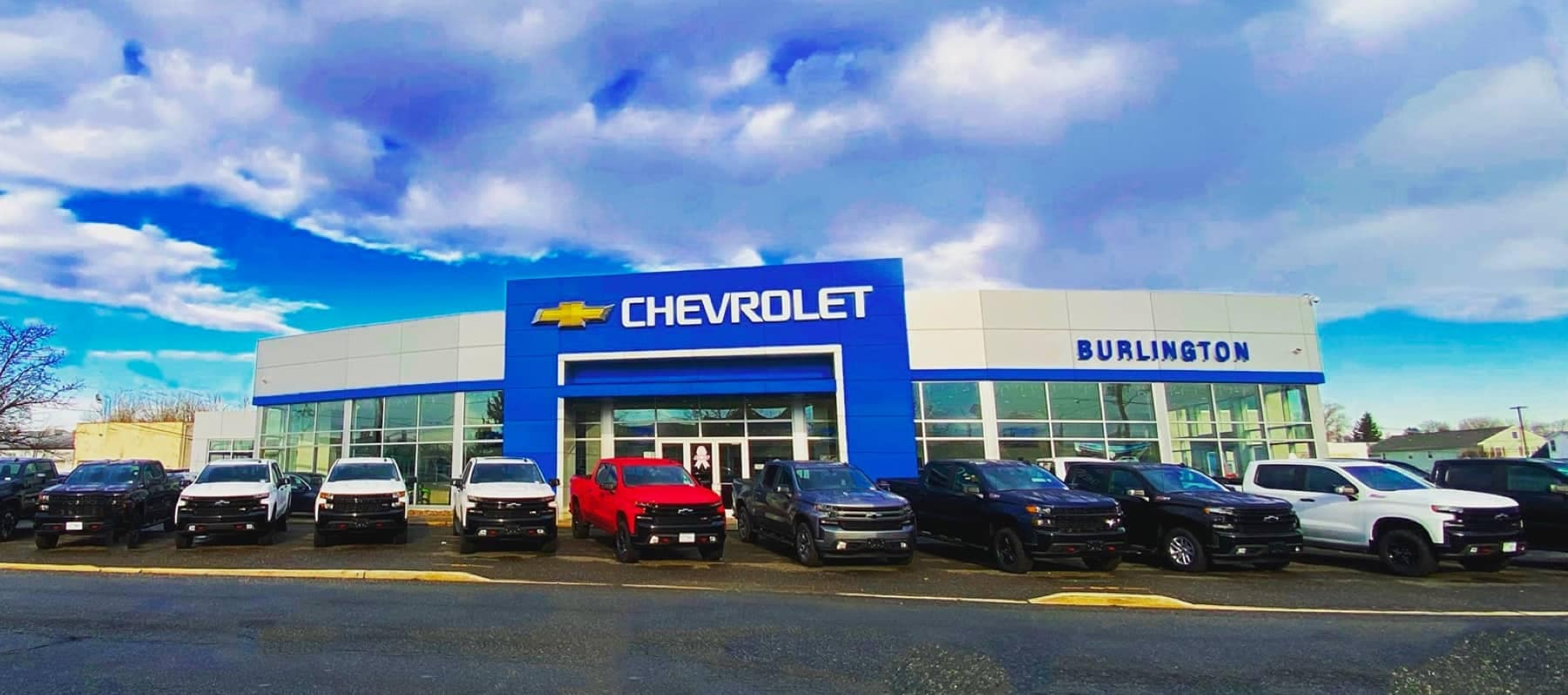 An exterior shot of Burlington Chevrolet during the day