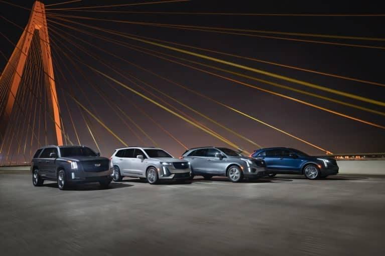 2020 Cadillac Line-up on a bridge