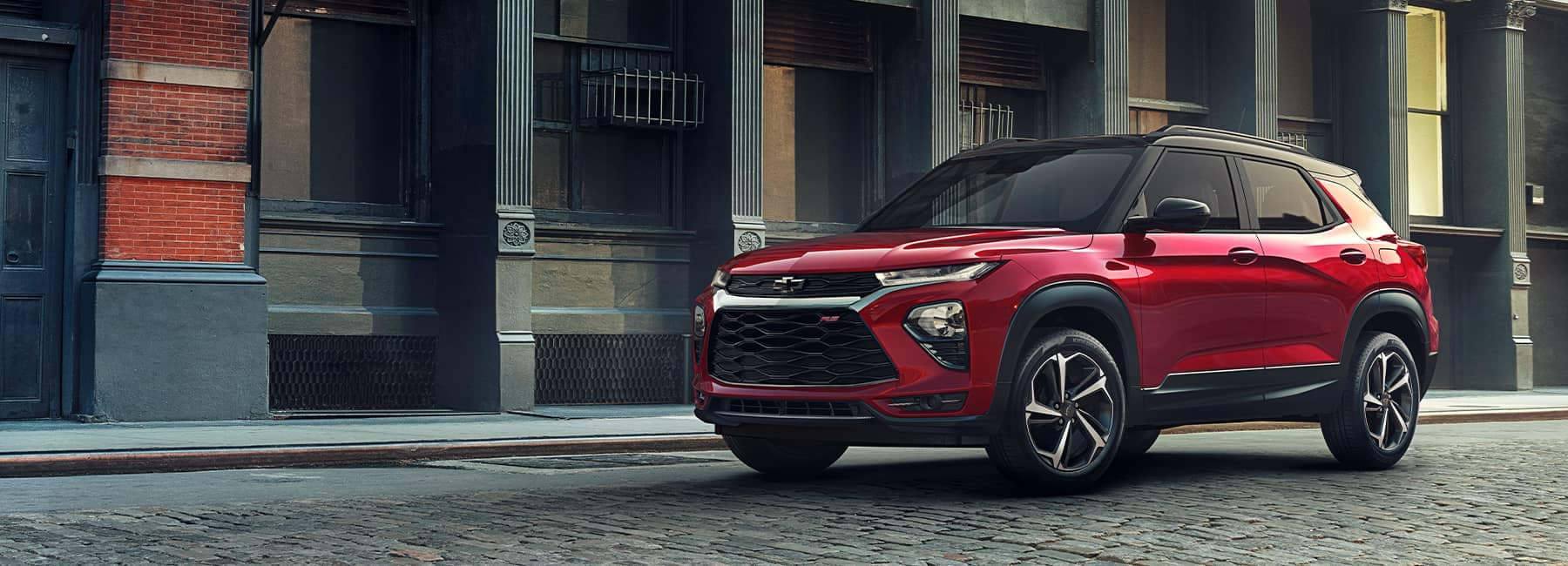 2021 Chevrolet Trailblazer parked in front of a city building