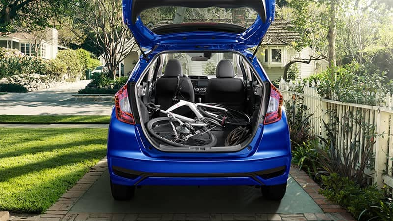 2019 Honda Fit Cargo Area with Bike Laying Down Flat
