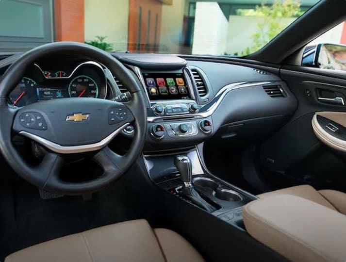 An interior shot of a car's dashboard